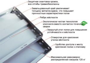 Полка усиленная 100\70 для металлического стеллажа купить на выгодных условиях в Ростове-на-Дону
